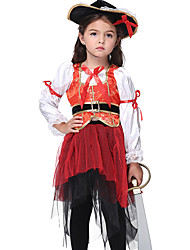 cheap -Pirate Cosplay Costume Outfits Halloween Props Masquerade Costume Kid's Girls' Halloween Halloween Festival / Holiday Spandex Polyester / Polyamide Fuchsia Carnival Costumes