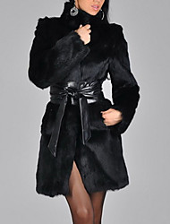 cheap -Women's Fur Coat Long Solid Colored Going out Black S M L XL