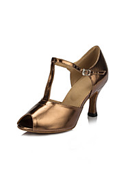 cheap -Women's Latin Shoes Dance Shoes Heel Solid Color Flared Heel Bronze T-Strap Sparkling Shoes