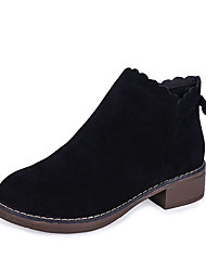 cheap -Women's Boots Block Heel Round Toe Bowknot Suede Booties / Ankle Boots Minimalism Fall & Winter Black / Brown