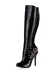 cheap -Women's Boots Knee High Boots Stiletto Heel Round Toe Rivet / Buckle Patent Leather Knee High Boots Classic Winter / Fall & Winter Black / Party & Evening