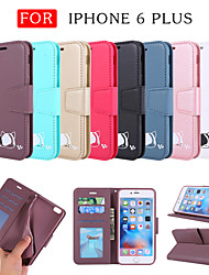 cheap -Case For Apple iPhone 6 Plus Wallet / Card Holder / with Stand Full Body Cases Solid Colored / Cat / Cartoon PU Leather