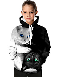 cheap -Kids Toddler Girls' Active Basic Black & White Cat Geometric Print Color Block Print Long Sleeve Hoodie & Sweatshirt White / Animal