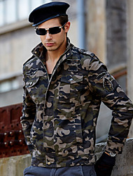 cheap -Men's Daily / Sports Military Spring &  Fall Plus Size Regular Jacket, Solid Colored Turndown Long Sleeve Cotton Army Green / Khaki