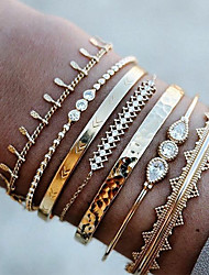 cheap -7pcs Women's Clear Bracelet Bangles Cuff Bracelet Bead Bracelet Layered Pear Vintage Trendy Ethnic Fashion Boho Imitation Diamond Bracelet Jewelry Gold For Daily School Street Holiday Festival