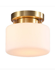 cheap -Ceiling Lamp Modern Luxury Pendant Light Semi Flush Drum Shade American Simple Chandelier for Hallway Kitchen Round White Glass Shade