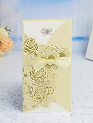 cheap -Double Gate-Fold Wedding Invitations 30pcs - Invitation Cards / Thank You Cards / Response Cards Heart / Modern Style / Fairytale Theme Pearl Paper 21.5*11.5 cm Satin Bow / Sash / Ribbon