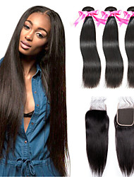 cheap -3 Bundles with Closure Malaysian Hair Straight Remy Human Hair 100% Remy Hair Weave Bundles Natural Color Hair Weaves / Hair Bulk Extension Hair Weft with Closure 8-20 inch Natural Human Hair Weaves