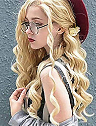 cheap -Synthetic Lace Front Wig Wavy Middle Part Lace Front Wig Blonde Long Blonde Synthetic Hair 18-26 inch Women's Adjustable Heat Resistant Party Blonde