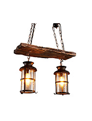 cheap -2-Light Antique Pendant Light Chain Adjustable Lantern Chandelier Ambient Light Painted Finishes Wood Clear Glass Shade Dining Room Pendant Lights
