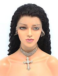 cheap -Remy Human Hair Lace Front Wig style Brazilian Hair Deep Wave Black Wig 150% Density Women's Medium Length Human Hair Lace Wig beikashang