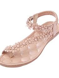 cheap -Women's Sandals Flat Heel Open Toe PU Summer Almond / White