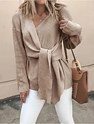 Недорогие -Жен. Однотонный Длинный рукав Пуловер Свитер джемпер, V-образный вырез Хаки / Черный M / L / XL
