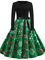 cheap -Women's A-Line Dress Long Sleeve Abstract Patchwork Print Vintage Green S M L XL XXL