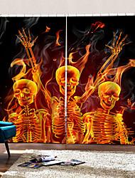 Недорогие -3d цифровая печать мультфильм окна шторы счастливый хэллоуин скелет 100% полиэстер затемнение фона занавес