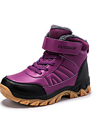 cheap -Women's Athletic Shoes Flat Heel Round Toe PU Booties / Ankle Boots Sporty / Casual Hiking Shoes / Walking Shoes Winter Black / Purple