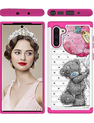 cheap -Case For Samsung Galaxy Note 9 / Galaxy Note 10 / Galaxy Note 10 Plus Shockproof / Rhinestone / Pattern Back Cover Animal TPU / PC