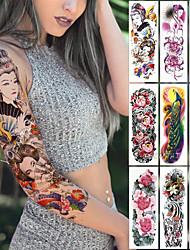 Недорогие -1 шт. Большая рука рукав татуировки японская гейша змея водонепроницаемый временный стикер tatto лотос павлин девушка тату боди-арт женщины