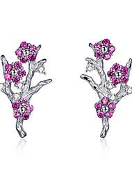 cheap -New Collection 925 Sterling Silver Wintersweet Blooming Plum Flower Stud Earrings Women Silver Jewelry Gift