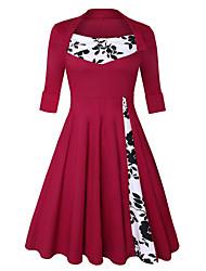 cheap -Audrey Hepburn Retro Vintage 1950s Dress Women's Spandex Costume Wine / Black & White / Red+Black Vintage Cosplay Short Sleeve