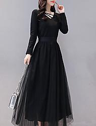cheap -Women's Maxi Black Dress Sheath Solid Colored V Neck S M