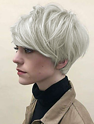 cheap -Human Hair Blend Wig Short Straight Bob Pixie Cut Layered Haircut With Bangs Silver Fashionable Design Life Party Capless Women's Sliver White 8 inch / Natural Hairline / Natural Hairline