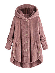 cheap -Women's Daily Fall & Winter Regular Coat, Solid Colored Hooded Long Sleeve Polyester Wine / Light Brown / Light gray
