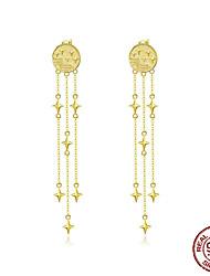 cheap -Meteor Tassel Drop Earrings Golden Star Comet Long Dangle Earring Women High Quality 925 Sterling Silver Jewelry BSE47109