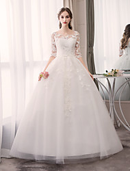 cheap -Ball Gown Jewel Neck Floor Length Tulle Half Sleeve Glamorous Made-To-Measure Wedding Dresses with Appliques 2020