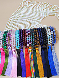 cheap -Women's Multicolor Long Necklace Pearl Necklace Tassel Bohemian Ethnic Fashion Cute Pearl Stone Black Rose Red Light Brown Dark Green Light Green 88 cm Necklace Jewelry 1pc For Graduation