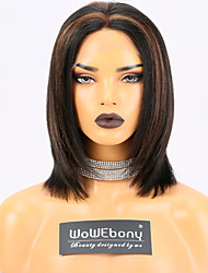 cheap -Remy Human Hair Lace Front Wig Layered Haircut style Brazilian Hair Yaki Straight Natural Multi-color Wig 150% Density with Baby Hair Natural Hairline with Clip With Bleached Knots Women's Short