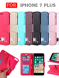 cheap -Case For Apple iPhone 7 Plus Wallet / Card Holder / with Stand Full Body Cases Solid Colored / Cat / Cartoon PU Leather