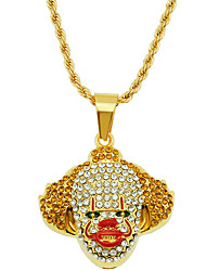 cheap -Men's Pendant Necklace Necklace Classic Clown Statement Trendy Rock Fashion Chrome Imitation Diamond Gold 75 cm Necklace Jewelry 1pc For Daily Holiday School Street Festival / Long Necklace