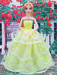 cheap -Doll Dress For Barbiedoll Striped Satin / Tulle Lace Satin Dress For Girl's Doll Toy