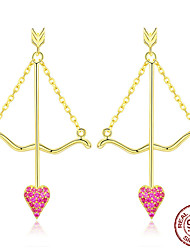 cheap -Genuine 925 Sterling Silver Cupid Arrow Pink Heart Drop Earrings for Women Valentines Day Gift Jewelry BSE34023