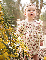 cheap -Toddler Girls' Cute Boho Geometric Ruched Print Long Sleeve Above Knee Dress Black