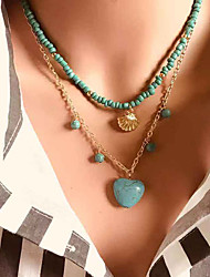 cheap -Women's Green Pendant Necklace Necklace Layered Necklace Layered Heart Weave Vintage Ethnic Korean Fashion Imitation Pearl Chrome Stone Turquoise 43 cm Necklace Jewelry 1pc For Daily