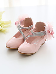 cheap -Girls' Flower Girl Shoes PU Heels Little Kids(4-7ys) / Big Kids(7years +) Walking Shoes Flower White / Pink Spring / Fall / Party & Evening / Rubber