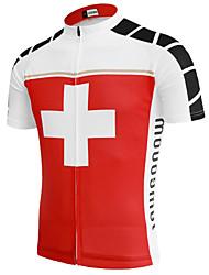 abordables -21Grams Switzerland Drapeau National Homme Manches Courtes Maillot Velo Cyclisme - Rouge / Blanc Vélo Hauts / Top Résistant aux UV Respirable Evacuation de l'humidité Des sports Térylène VTT Vélo