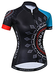 cheap -21Grams Floral Botanical Women's Short Sleeve Cycling Jersey - Blue / Black Bike Jersey Top Breathable Quick Dry Moisture Wicking Sports Elastane Terylene Polyester Taffeta Mountain Bike MTB Road