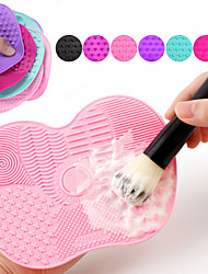 cheap -Makeup Brush Cleaning Pad With Suction Cup Silicone Scrub Pad Beauty Tools Makeup Brush Cleaning Artifact