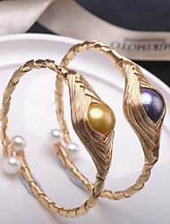 cheap -Women's Bracelet Bangles Cuff Bracelet woven High Heel Precious Vintage Bohemian Pearl Bracelet Jewelry Gold / Blue For Wedding Gift Daily Promise Festival / 14K Gold