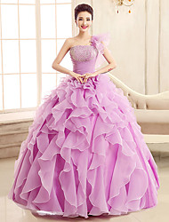 cheap -Ball Gown One Shoulder Floor Length Tulle Elegant Formal Evening Dress with Sequin / Tier / Cascading Ruffles 2020