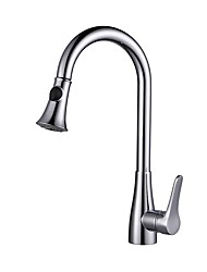 cheap -Kitchen faucet - Single Handle One Hole Chrome Pull-out / ­Pull-down / Tall / ­High Arc Centerset Contemporary Kitchen Taps / Brass