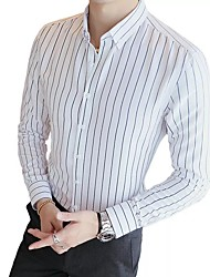 cheap -Men's Daily Basic Shirt - Striped Black