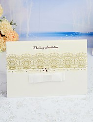 "cheap -Wrap & Pocket Wedding Invitations 30pcs - Invitation Cards / Thank You Cards / Response Cards Monogram / Modern Style / Stripe Pearl Paper 5""×7 ¼"" (12.7*18.4cm) Satin Bow / Sash / Ribbon"