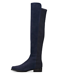 cheap -Women's Boots Knee High Boots Flat Heel Closed Toe Faux Leather Knee High Boots British / Minimalism Winter Black / Dark Blue / Party & Evening