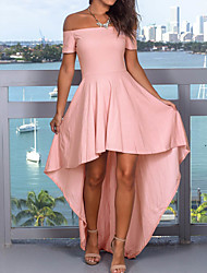 cheap -Women's Asymmetrical Blushing Pink Red Dress Party Homecoming Sheath Solid Colored Off Shoulder S M Slim