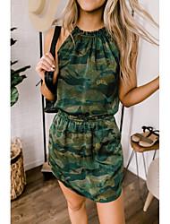 cheap -Women's Army Green Dress Basic Bodycon Shift Camouflage Halter Neck Print S M