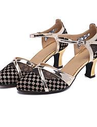 cheap -Women's Modern Shoes Heel Glitter Cuban Heel Gold Silver